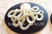 Resin cameo Necklace pendant Free Shipping 30*40mm 5Colors Resin octopus For Jewelry/ Mobile Phone Decoration by 50pcs/ lot