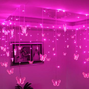 Flower pavilion decoration corner booths ceiling decoration 0.5*8 meters butterfly led curtain lighting string-1.15kg