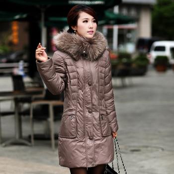 Winter Jacket Women 2014  Plus Size White Goose Down Coat Real Raccoon Fur Collar Down Coat Women Winter Down Parka Women 175