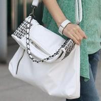 2014 Punk rivet chain handbag Inclined shoulder bag women white PU leather cross-body  women famous brands bags