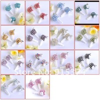 3.5mm Crystal Apple Anti Dust Earphone Cap Plug Stopper For iphone 4 4G 4S All Cell Phone Multicolor Free shipping