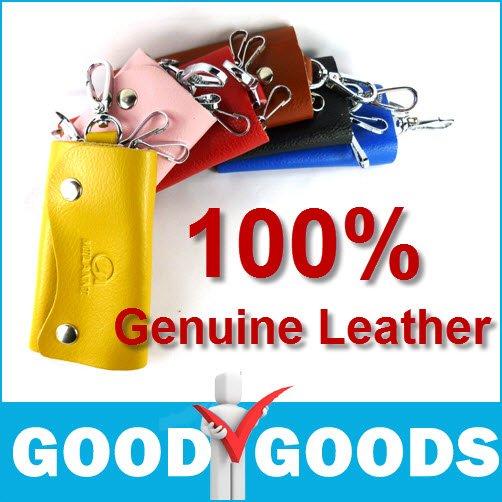 100% in vera pelle di marca nuovo vacchetta moda portafoglio chiave borsa chiave gancio portachiavi casual spedizione gratuita!! Sku21025