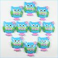 Bulk 50 pcs Cute Blue OWL Resin Cabochon Flatbacks Flat Back Scrapbooking Girl Hair Bow Center Crafts Making Embellishments DIY