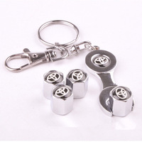 4 PCS Chrome Metal Tire Air VALVE STEM Caps Emblem TOYOTA Wrench Keychain