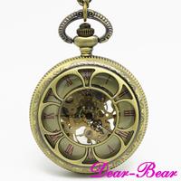 Vintage Brass Flower Mechanical Pocket Watch Skeleton Watch 10 pcs/lot