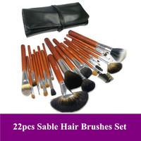 Free Shipping~ High Quality Pro 22 PCS natural animal kolinsky Sable Hair Makeup Brushes Set with PU leather Bag, Dropshipping!