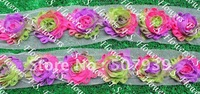 """Free ePacket/CPAP 20y 2,5"""" shinny print faux silk chiffon fabric rose flower lace for baby headbands hair clothes accessories"""