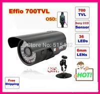 "Genuine 1/3"" Sony Effio CCD  700TVL OSD menu IR 30m outdoor waterproof camera with Bracket .Free Shipping"