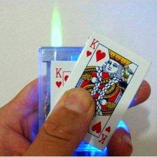 Free Shipping Flash Casino Poker R Heart King Card Slide Jet Lighter