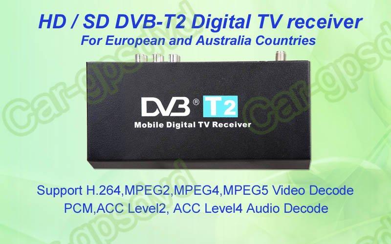 Free-shipping! Mobile Digital Car DVB-T2 H.264 MPEG4 HD Tuner Digital TV Receiver Box set top DVB-T2 (HD/SD), HDMI Car TV tuner(China (Mainland))