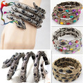 Wholesale 12pcs/Lot fashion retro silver bronze rhinestone Snake bangle metal alloy animal PUNK cool gift bracelet jewelry