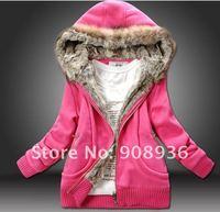 Women fur Sweater Hoodies Sweatshirts Jacket Coat Winter thickening outwear