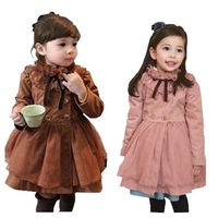 [Child Actor] baby outerwear girls dress cotton girls lace double breasted dress girls overcoat trench outerwear dress for girl