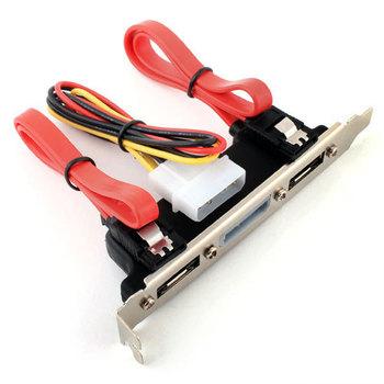 2 Ports eSATA 4 Pin Power PCI Bracket Slot SATA Cable #2447