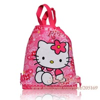1Pcs Hello Kitty Children Cartoon Logo Drawstring Backpack School Bags with Handle ,Party Favors,Non-woven Fabric,34X27CM