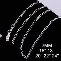 "EMS Free When Order >=$250,2MM Width Three Small  And One Big O Chain Necklace For Pendant 16""- 24""Length Chooseable."
