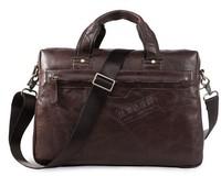 2014  Natural leather man bags Real Genuine leather Medium male briefcase laptop bag handbag men messenger bag Chocolate 7075q