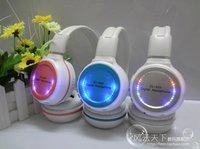 HIFI Wireless headphone LED light Earphone Monitor FM radio for MP4 PC TV audio,retail and wholesale Free shipping
