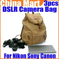 Vintage Canvas DSLR Camera Leather Bag Computer Case For Nikon Sony Canon 3pcs/lot Free Express