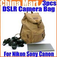 Vintage Canvas DSLR Camera Leather Bag Computer Case For Nikon Sony Canon 3pcs/lot Free Express
