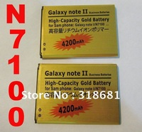 New High Capacity Rechargeable 4200mAh Li-ion Gold Battery For Samsung Galaxy Note II 2 N7100 Free Shipping