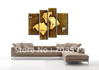 hand-painted wall art lines Weak yellow lily decoration abstract Landscape oil painting on canvas 4pcs/set,mixorde