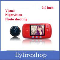 Freeshipping 3 inch LCD digital peephole camera DVR digital door peephole viewer Doorbell with TF card slot Photo shooting