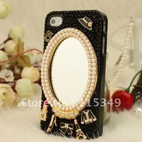Free shipping/New Fashion Bling Crystal Rhinestone Hard Cover Case for iphone4/4s  mirror  lovely balck hot Sell Christmas gift