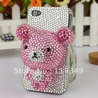 Free shipping/New Fashion Bling Crystal Rhinestone Hard Cover Case for iphone4/4S Christmas gift stereo 3D bear lovely hot Sell