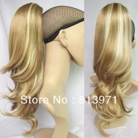 Women Synthetic Ponytail Hair Wavy Ponytail Wig Hairpieces Highlight Ponytail Extensions #K22THK613B Brown & Blonde Ponytail
