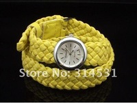 fashion Ladies Knit Bracelet Watches ,women's braided rope strap quartz wrist watches 8 colors, 50pcs Free Shipping