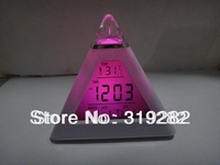 1lot=10pcs 7-Colors Change LED Digital Triangle Pyramid Alarm Clock ABS LED  alarm clock