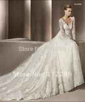 V-neck Long Sleeve Lace Wedding Dress Chapel Train HZ221