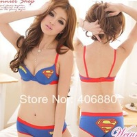 Best selling!!Korea order superman girls underwear cotton bra set lingerie Popular Underwire bra and briefs Nude AB cup 1set