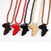 Min order is usd15 Hip Hop Good wood Africa Map Pendant Necklace For Men
