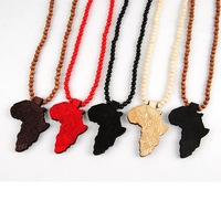 Min order is usd15 Hip Hop Good wood Africa Map Pendant Necklace For Men