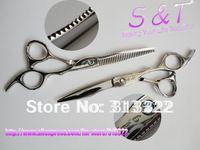 "Hot sales:6"" HAKUCHO Brand Beauty Hair scissors Set(Razor scissors+Thinning Shears),Barber Scissors Kit,440C with a leather bag"