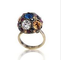 MOQ US $15 !!! Fashion Zircon Fancy Color Crystal  Ring