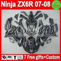 On sale+7gifts ALL black For KAWASAKI NINJA ZX6R ZX636 07-08 ZX 6R 636 ZX-6R ZX-636 07 08 2007 2008 Gloss black flat blk Fairing