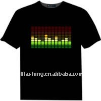 EL Equaliser T-Shirt  EL Glowing T-Shirt  Music Sound Active Functions 100% Cotton