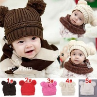 Free shipping Fashion baby Double ball Knitted cap infant hat Christmas gift Children's hats C183