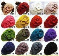 free shipping Hot sale fashion newest -Handmade knitted women headband& Flower lady headbands (20pcs moq),16 colors