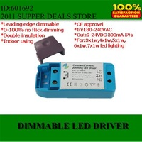 led driver TRIAC Dimmable 230V,(DHL)high quality leading edge dimming led driver dimmable 3-7x1W 300mA/350mA free shipping