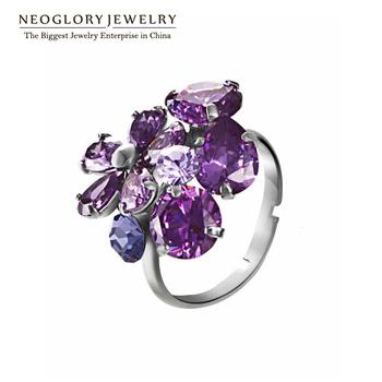 Neoglory Auden Rhinestone Zircon Adjustable Finger Ring Alloy Platinum Plated Fashion ...
