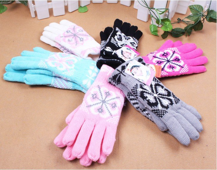 Warm Winter Double Layer Velvetfinger Gloves Knitted Lovers Wool Gloves(China (Mainland))