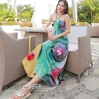 2014 bohemia full halter-neck beach dress one-piece dress woman's dress free shipping