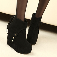 Free Shipping New Arrive Height Increasing Black Lace Up Platform Ankle Boots For Women With Fashionable Design