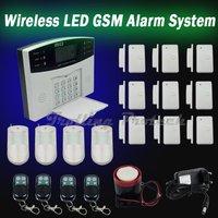 Free Shipping Wireless LED English Voice Home Security GSM Burglar Alarm System Auto-Dialer 9 Door Sensor+4 PIR Detector sg-111