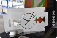 Free shipping Skin ancient creative blade mirror wall clock mute scanning wall clock
