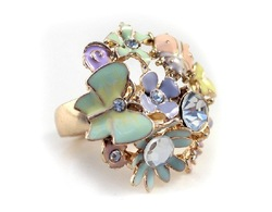 Beautiful colorful enamel flower ring for lady free shipping(China (Mainland))